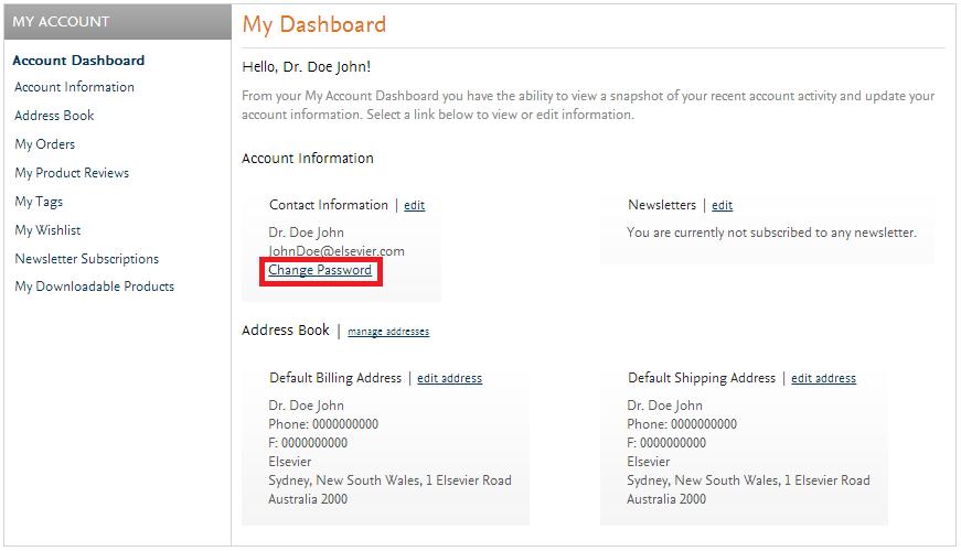 Elsevier Change Password