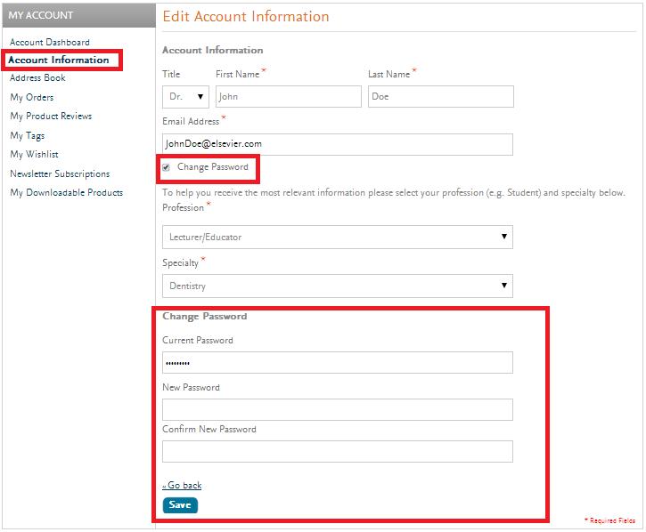 Elsevier Change Password 2