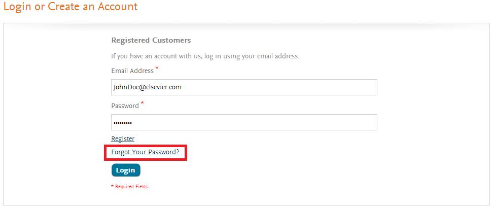Elsevier Forgot Password